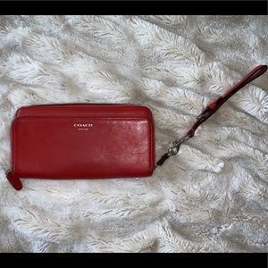 Coral/Red Coach Wallet Wristlet